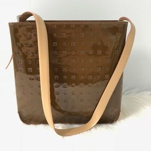 Arcadia Brown Patent Leather Tote Handbag